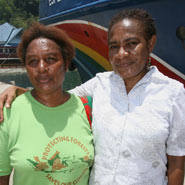 Dorothy (right) with fellow Greenpeace campaigner Lien in Jayapura © Greenpeace/Rante