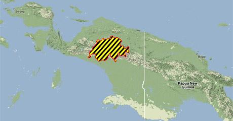 Lihat peta dengan warna kuning dan hitam. Itu dalah peta negara swiss, dan seluas itupulah hutan di papua akan berubah menjadi perkebunan kelapa sawit di beberapa tahun mendatang.